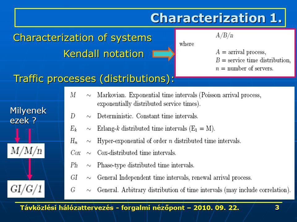 Távközlési hálózattervezés - forgalmi nézőpont – 2010. 09. 22. 3 Characterization 1. Characterization of systems Traffic processes (distributions): Mi