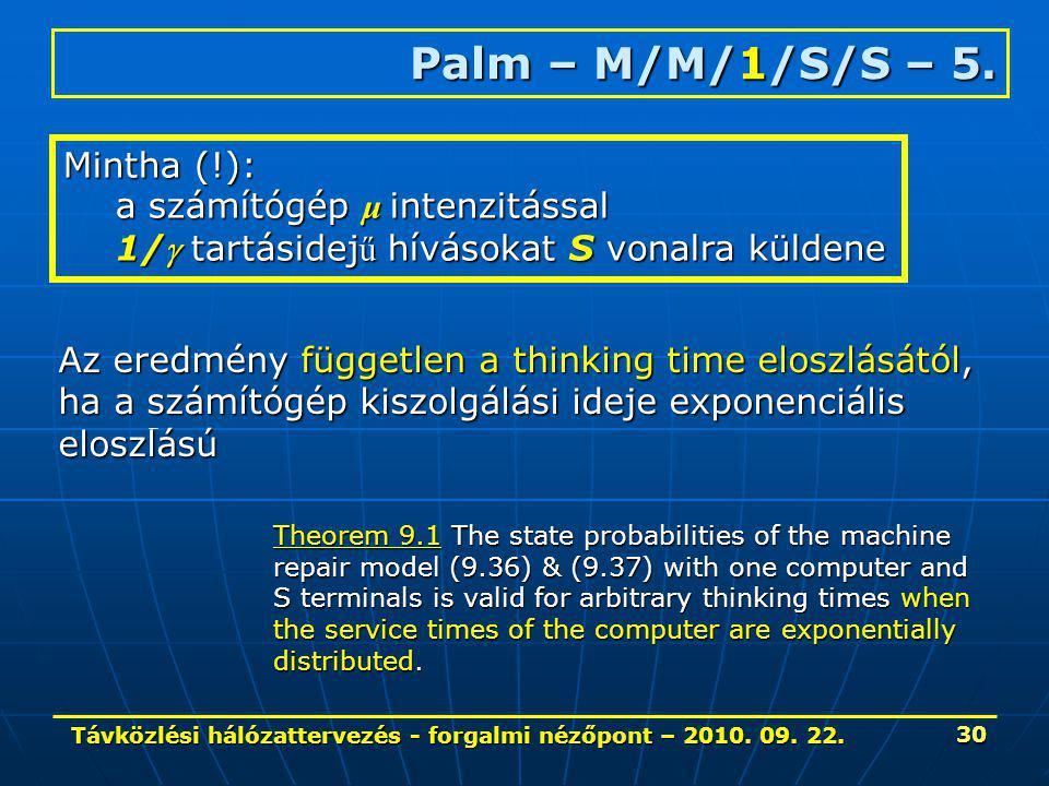 Távközlési hálózattervezés - forgalmi nézőpont – 2010. 09. 22. 30 Palm – M/M/1/S/S – 5. Mintha (!): a számítógép μ intenzitással 1/ tartásidej ű hívá