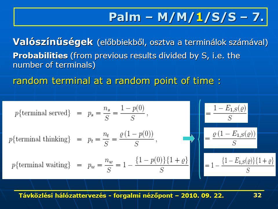 Távközlési hálózattervezés - forgalmi nézőpont – 2010. 09. 22. 32 Palm – M/M/1/S/S – 7. Valószínűségek (előbbiekből, osztva a terminálok számával) Pro