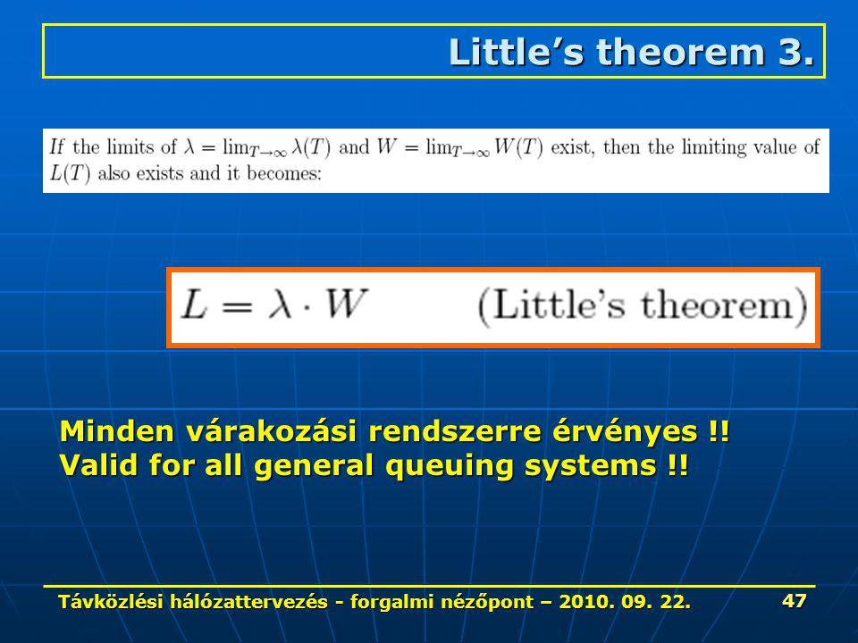 Távközlési hálózattervezés - forgalmi nézőpont – 2010. 09. 22. 47 Little's theorem 3. Minden várakozási rendszerre érvényes !! Valid for all general q