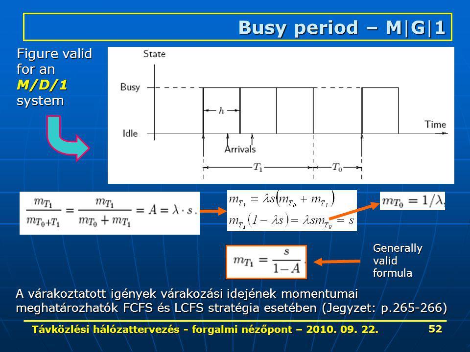 Távközlési hálózattervezés - forgalmi nézőpont – 2010. 09. 22. 52 Busy period – M|G|1 Figure valid for an M/D/1system A várakoztatott igények várakozá