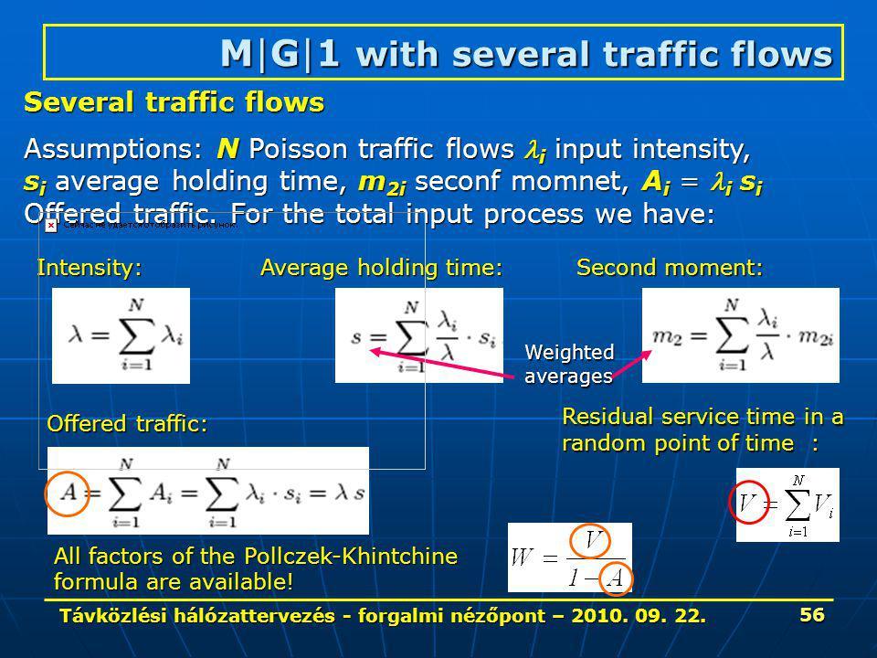 Távközlési hálózattervezés - forgalmi nézőpont – 2010. 09. 22. 56 M|G|1 with several traffic flows Several traffic flows Assumptions: N Poisson traffi