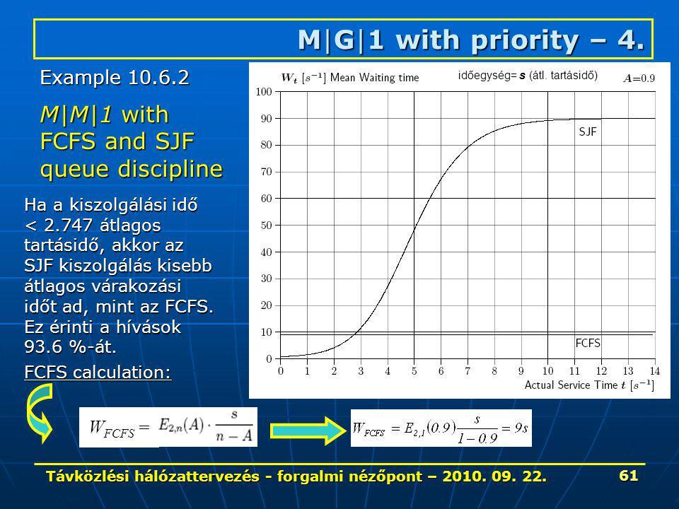 Távközlési hálózattervezés - forgalmi nézőpont – 2010. 09. 22. 61 M|G|1 with priority – 4. M|M|1 with FCFS and SJF queue discipline Ha a kiszolgálási