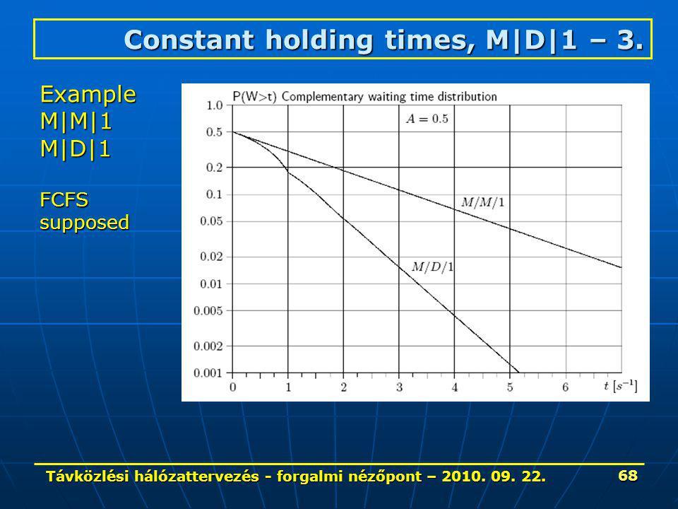 Távközlési hálózattervezés - forgalmi nézőpont – 2010. 09. 22. 68 Constant holding times, M|D|1 – 3. ExampleM|M|1M|D|1 FCFSsupposed