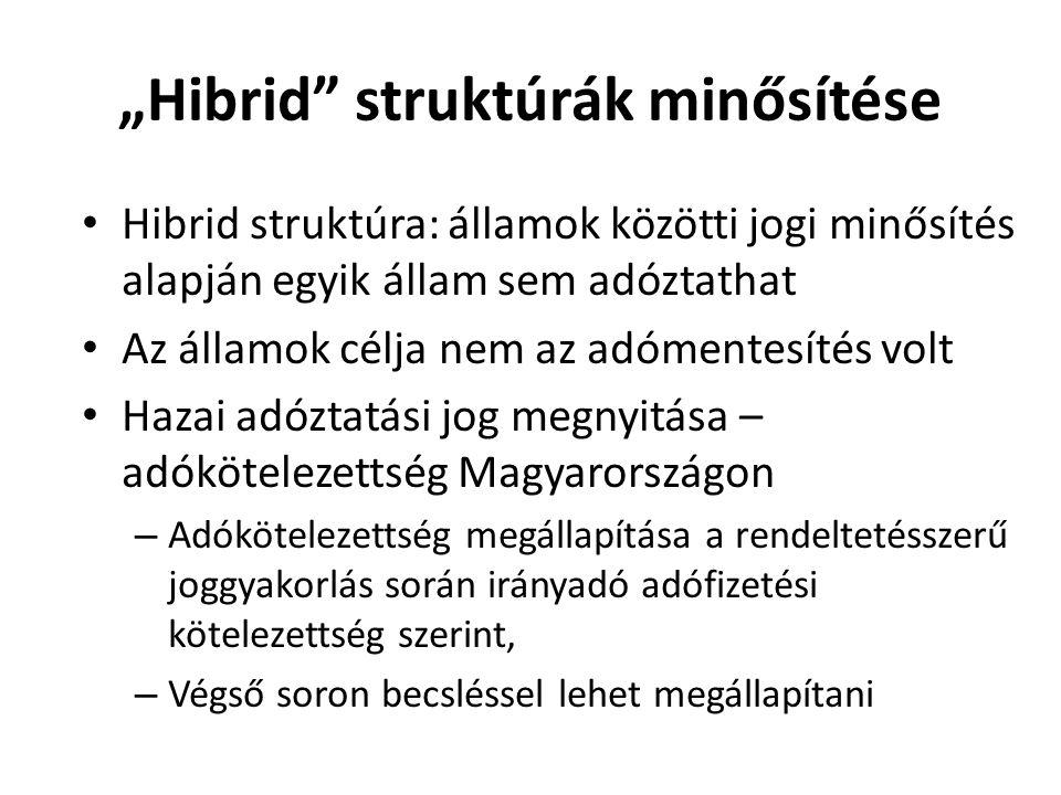 Hibrid struktúra: államok közötti jogi minősítés alapján egyik állam sem adóztathat Az államok célja nem az adómentesítés volt Hazai adóztatási jog me