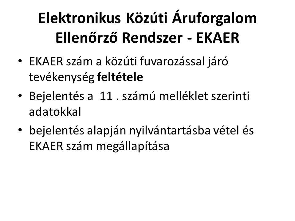 Elektronikus Közúti Áruforgalom Ellenőrző Rendszer - EKAER EKAER szám a közúti fuvarozással járó tevékenység feltétele Bejelentés a 11. számú mellékle