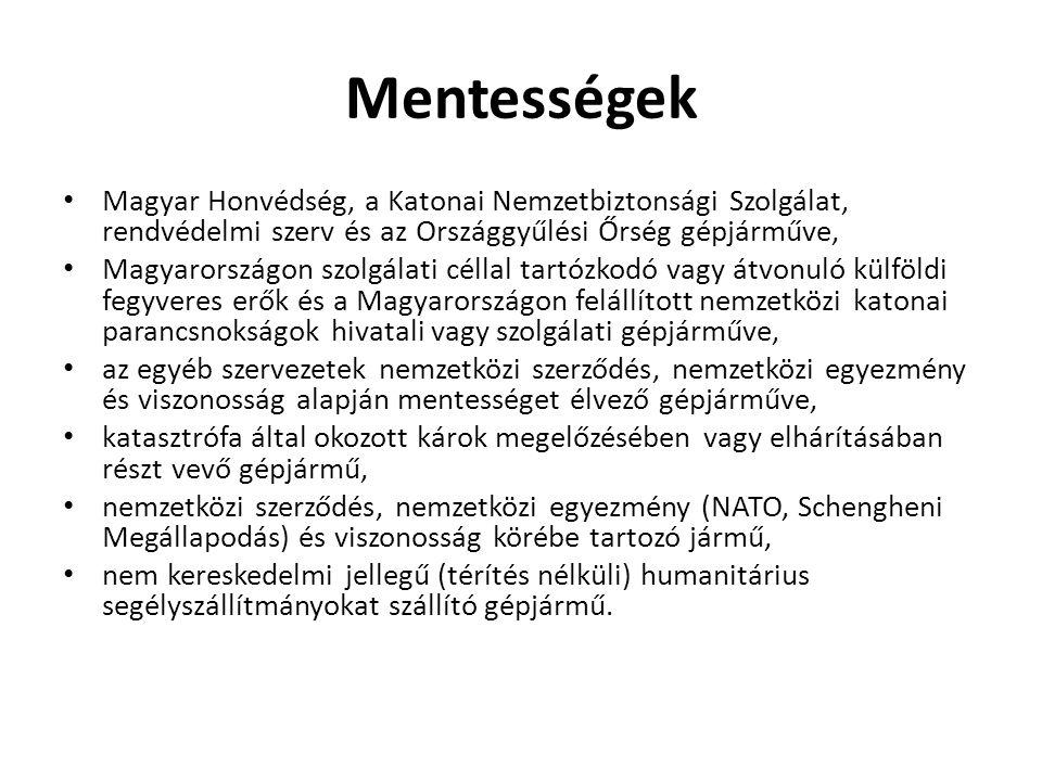Mentességek Magyar Honvédség, a Katonai Nemzetbiztonsági Szolgálat, rendvédelmi szerv és az Országgyűlési Őrség gépjárműve, Magyarországon szolgálati