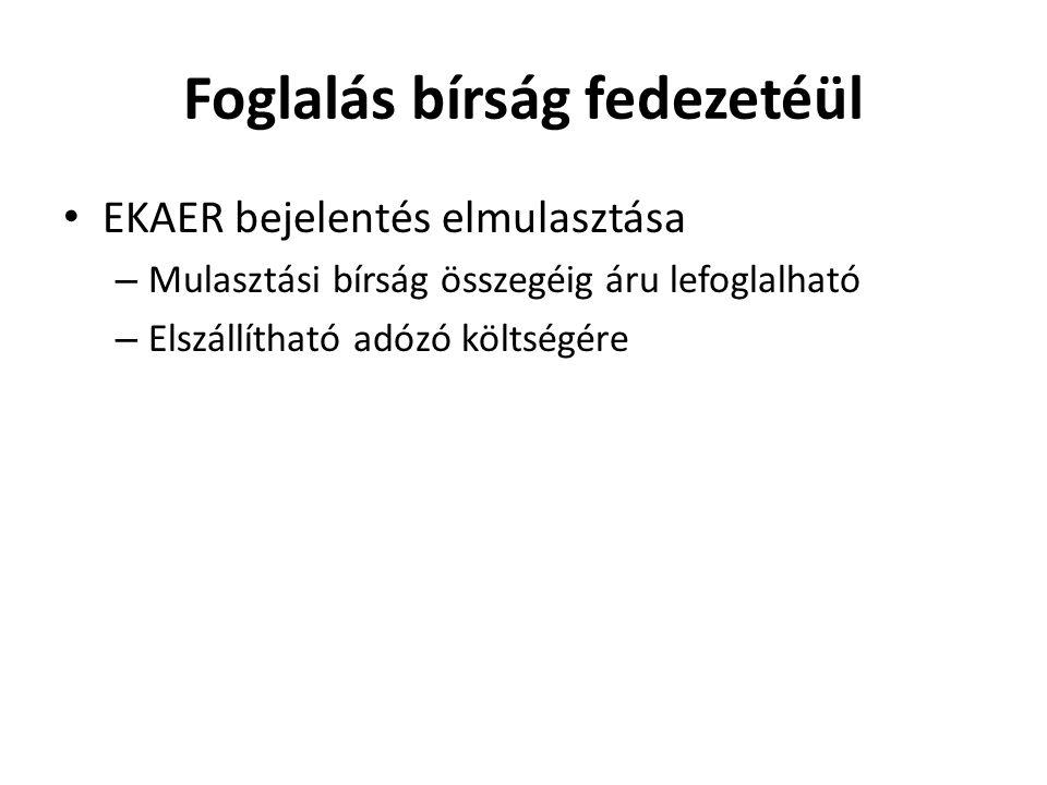 Foglalás bírság fedezetéül EKAER bejelentés elmulasztása – Mulasztási bírság összegéig áru lefoglalható – Elszállítható adózó költségére
