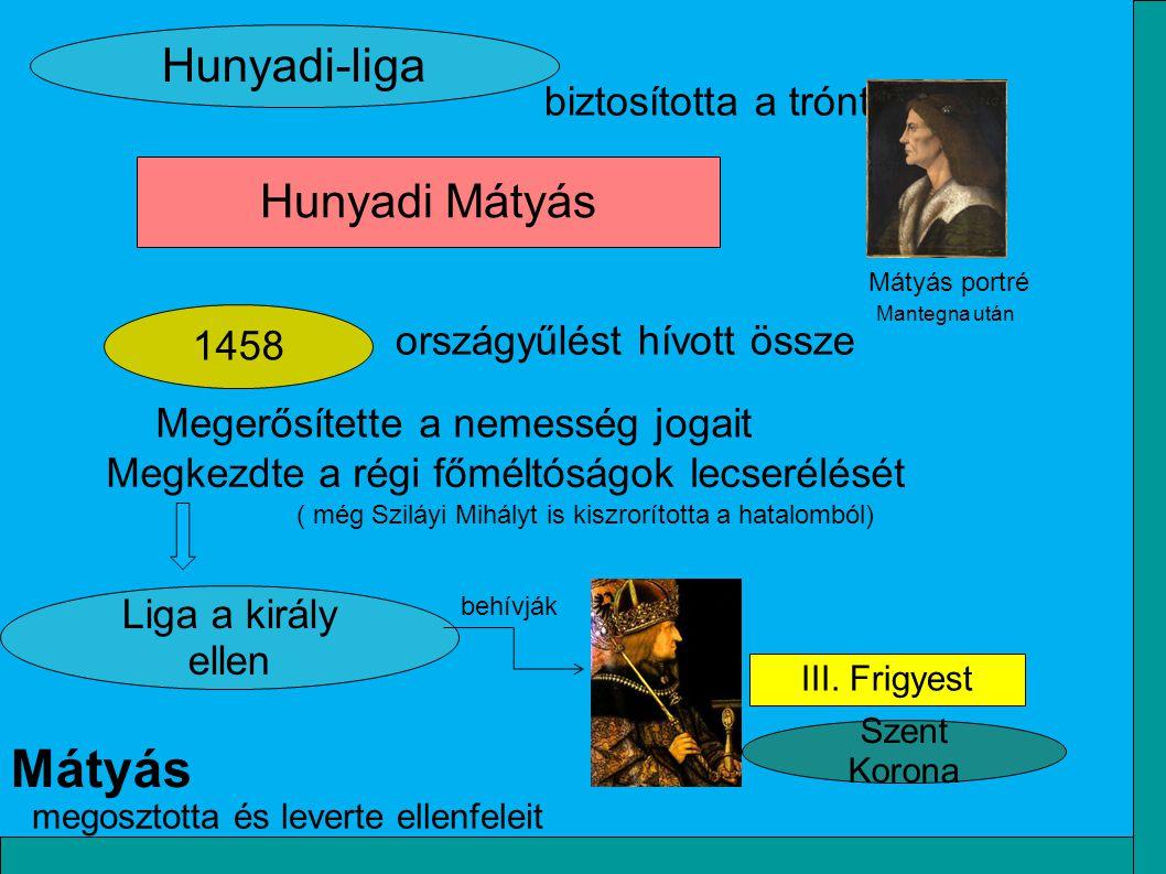 III. Frigyest Szent Korona 1458 Hunyadi Mátyás Hunyadi-liga országyűlést hívott össze biztosította a trónt Liga a király ellen Megerősítette a nemessé