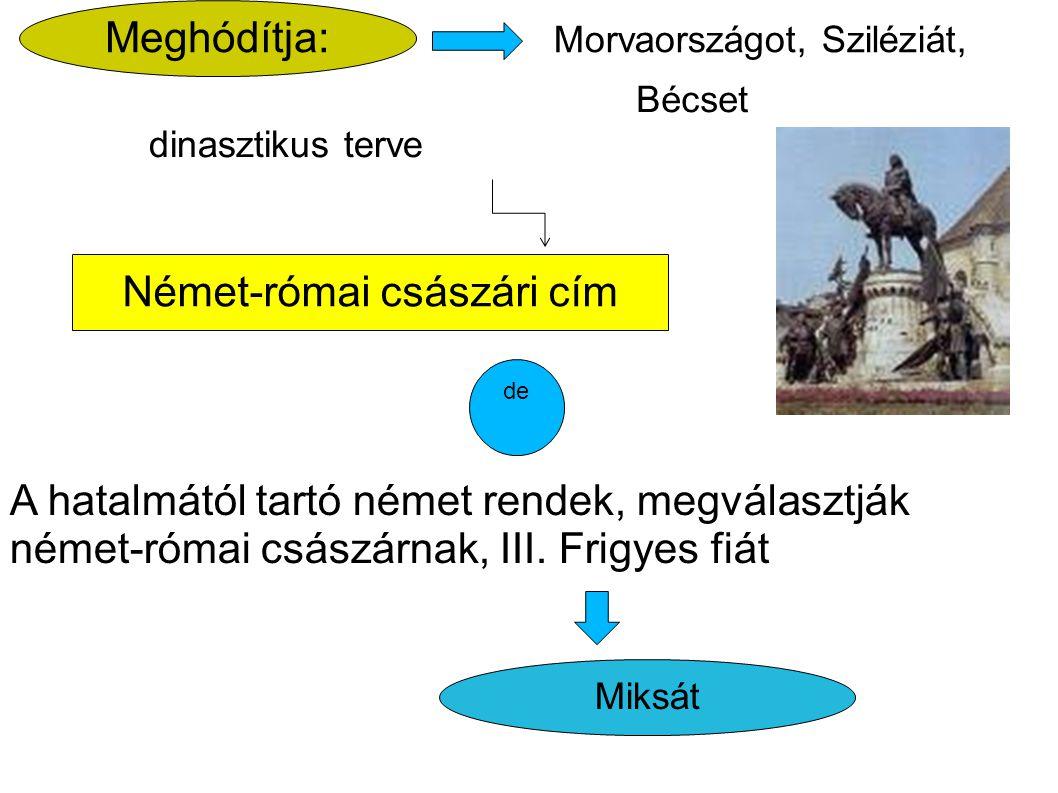 Német-római császári cím Meghódítja: Bécset Morvaországot, Sziléziát, dinasztikus terve Miksát A hatalmától tartó német rendek, megválasztják német-ró