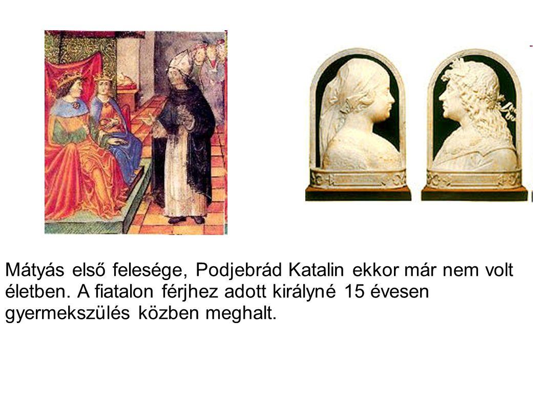 Mátyás első felesége, Podjebrád Katalin ekkor már nem volt életben. A fiatalon férjhez adott királyné 15 évesen gyermekszülés közben meghalt.