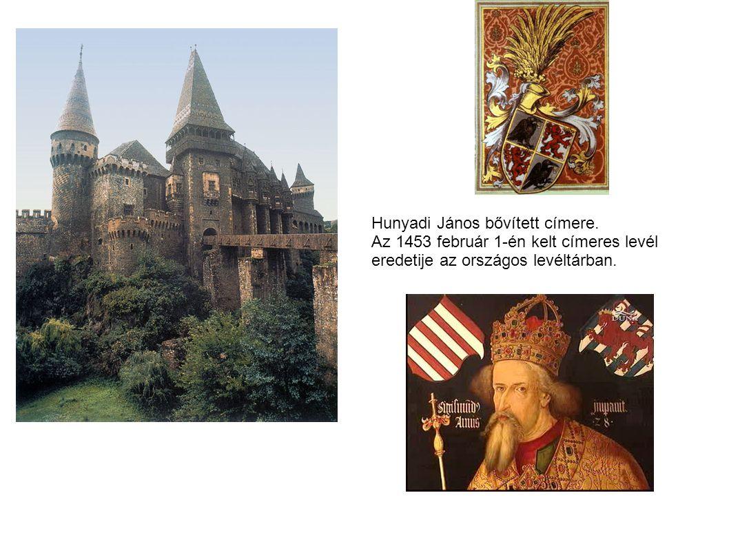 Hunyadi János bővített címere. Az 1453 február 1-én kelt címeres levél eredetije az országos levéltárban.