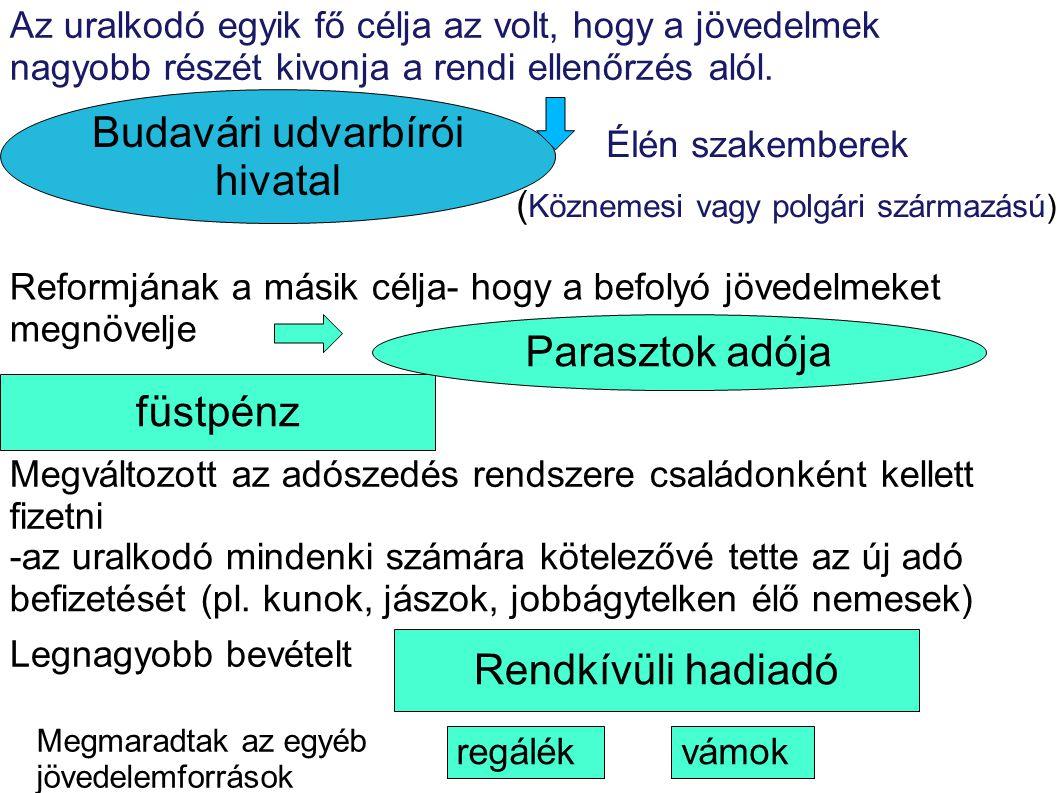 füstpénz Parasztok adója Rendkívüli hadiadó Budavári udvarbírói hivatal Az uralkodó egyik fő célja az volt, hogy a jövedelmek nagyobb részét kivonja a