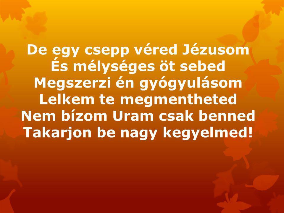 De egy csepp véred Jézusom És mélységes öt sebed Megszerzi én gyógyulásom Lelkem te megmentheted Nem bízom Uram csak benned Takarjon be nagy kegyelmed!