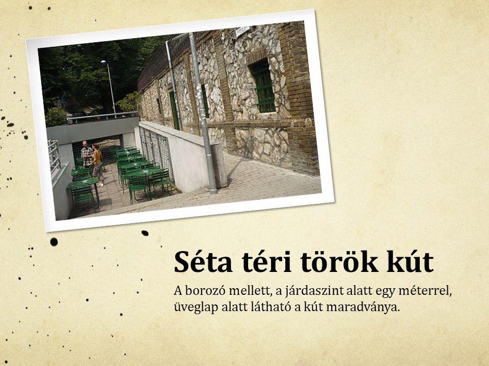 Séta téri török kút A borozó mellett, a járdaszint alatt egy méterrel, üveglap alatt látható a kút maradványa.