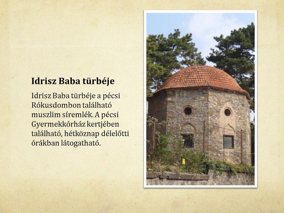 Idrisz Baba türbéje Idrisz Baba türbéje a pécsi Rókusdombon található muszlim síremlék. A pécsi Gyermekkórház kertjében található, hétköznap délelőtti