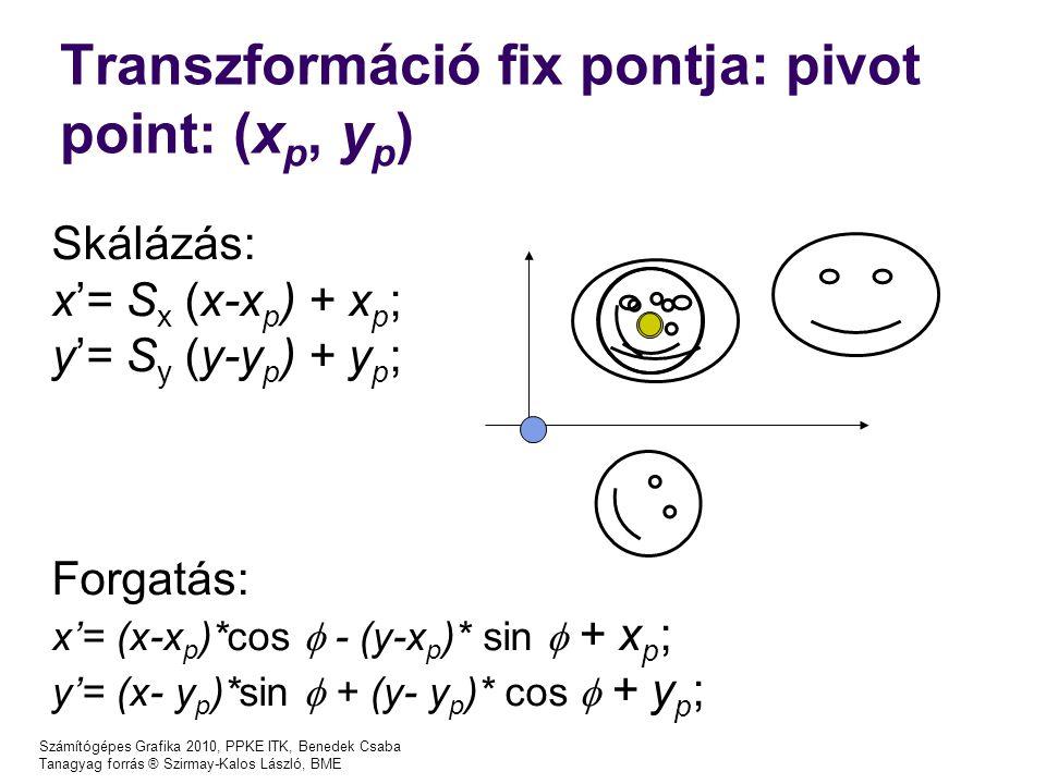 Számítógépes Grafika 2010, PPKE ITK, Benedek Csaba Tanagyag forrás ® Szirmay-Kalos László, BME Transzformáció fix pontja: pivot point: ( x p, y p ) Sk