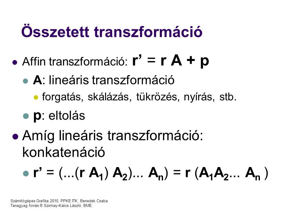 Számítógépes Grafika 2010, PPKE ITK, Benedek Csaba Tanagyag forrás ® Szirmay-Kalos László, BME Összetett transzformáció Affin transzformáció: r' = r A + p A: lineáris transzformáció forgatás, skálázás, tükrözés, nyírás, stb.