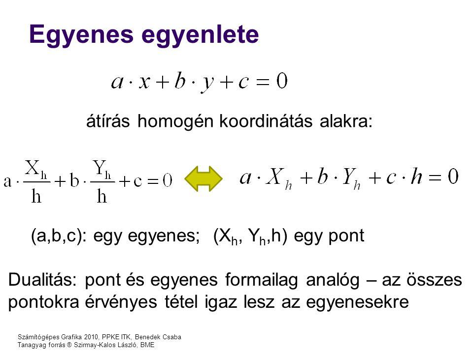 Számítógépes Grafika 2010, PPKE ITK, Benedek Csaba Tanagyag forrás ® Szirmay-Kalos László, BME Egyenes egyenlete átírás homogén koordinátás alakra: (a,b,c): egy egyenes; (X h, Y h,h) egy pont Dualitás: pont és egyenes formailag analóg – az összes pontokra érvényes tétel igaz lesz az egyenesekre