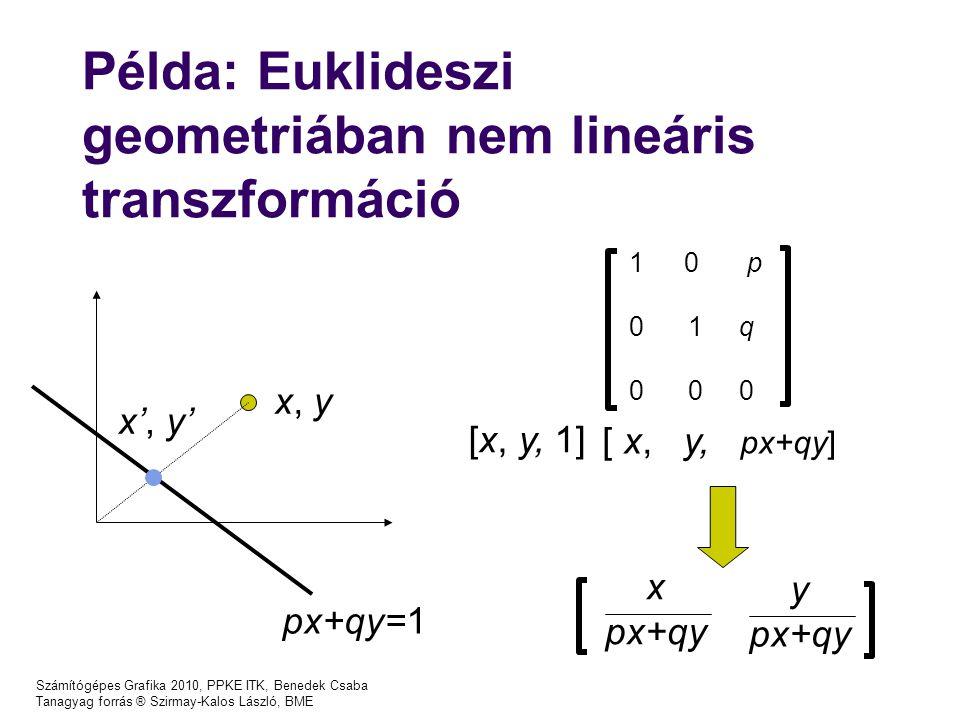 Számítógépes Grafika 2010, PPKE ITK, Benedek Csaba Tanagyag forrás ® Szirmay-Kalos László, BME Példa: Euklideszi geometriában nem lineáris transzformáció 1  0 p 0 1 q 0 0 0 [x, y, 1] [ x, y, px+qy] x px+qy y px+qy x, y x', y' px+qy=1
