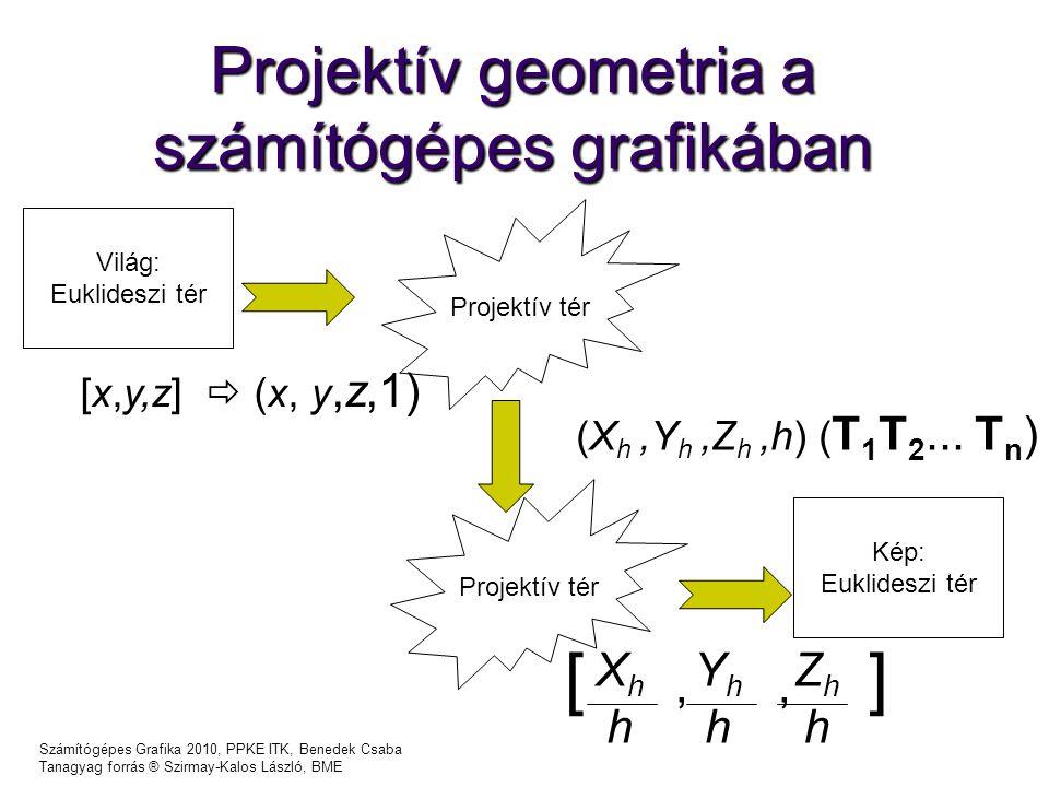 Számítógépes Grafika 2010, PPKE ITK, Benedek Csaba Tanagyag forrás ® Szirmay-Kalos László, BME Projektív geometria a számítógépes grafikában Világ: Euklideszi tér Projektív tér Kép: Euklideszi tér [x,y,z]  (x, y,z,1) (X h,Y h,Z h,h) ( T 1 T 2...