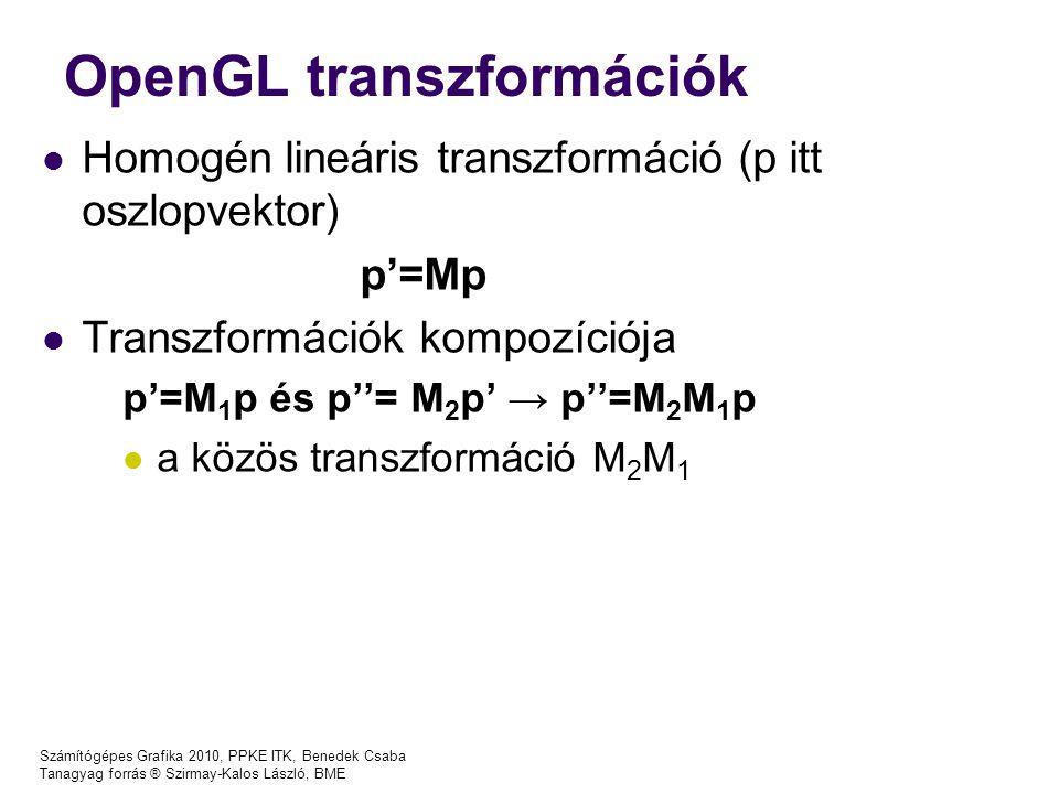 Számítógépes Grafika 2010, PPKE ITK, Benedek Csaba Tanagyag forrás ® Szirmay-Kalos László, BME OpenGL transzformációk Homogén lineáris transzformáció (p itt oszlopvektor) p'=Mp Transzformációk kompozíciója p'=M 1 p és p''= M 2 p' → p''=M 2 M 1 p a közös transzformáció M 2 M 1