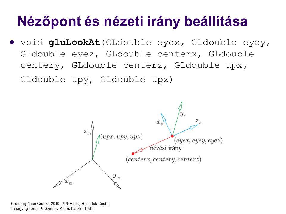 Számítógépes Grafika 2010, PPKE ITK, Benedek Csaba Tanagyag forrás ® Szirmay-Kalos László, BME Nézőpont és nézeti irány beállítása void gluLookAt(GLdouble eyex, GLdouble eyey, GLdouble eyez, GLdouble centerx, GLdouble centery, GLdouble centerz, GLdouble upx, GLdouble upy, GLdouble upz)