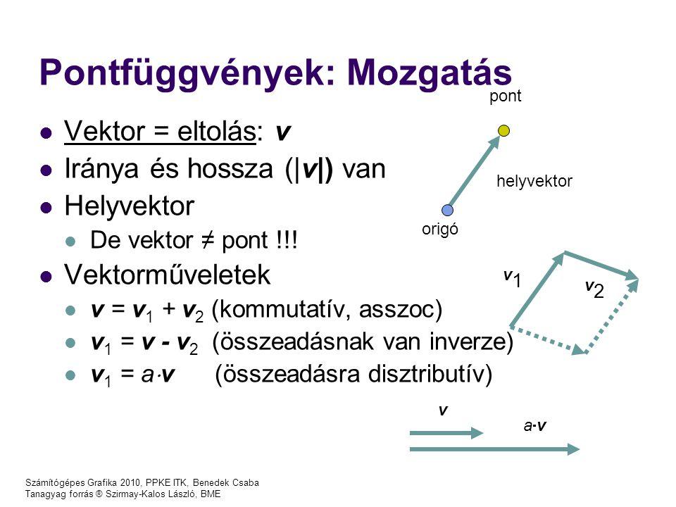 Számítógépes Grafika 2010, PPKE ITK, Benedek Csaba Tanagyag forrás ® Szirmay-Kalos László, BME Transzformáció fix pontja: pivot point: ( x p, y p ) Skálázás: x'= S x (x-x p ) + x p ; y'= S y (y-y p ) + y p ; Forgatás: x'= (x-x p )*cos  - (y-x p )* sin  + x p ; y'= (x- y p )*sin  + (y- y p )* cos  + y p ;
