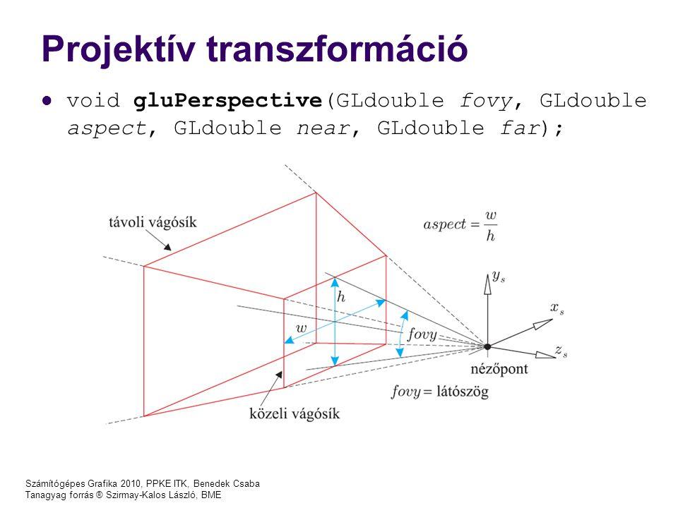Számítógépes Grafika 2010, PPKE ITK, Benedek Csaba Tanagyag forrás ® Szirmay-Kalos László, BME Projektív transzformáció void gluPerspective(GLdouble f