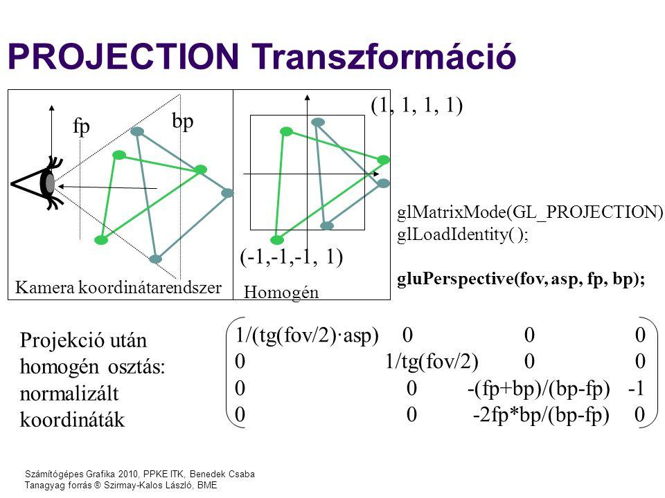 Számítógépes Grafika 2010, PPKE ITK, Benedek Csaba Tanagyag forrás ® Szirmay-Kalos László, BME PROJECTION Transzformáció glMatrixMode(GL_PROJECTION); glLoadIdentity( ); gluPerspective(fov, asp, fp, bp); 1/(tg(fov/2)·asp) 0 0 0 0 1/tg(fov/2) 0 0 0 0 -(fp+bp)/(bp-fp) -1 0 0 -2fp*bp/(bp-fp) 0 Kamera koordinátarendszer Homogén (1, 1, 1, 1) (-1,-1,-1, 1) fp bp Projekció után homogén osztás: normalizált koordináták