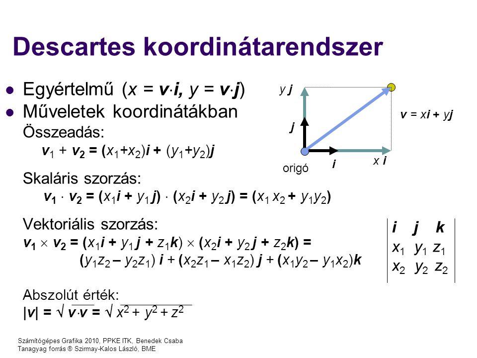 Számítógépes Grafika 2010, PPKE ITK, Benedek Csaba Tanagyag forrás ® Szirmay-Kalos László, BME Descartes koordinátarendszer x i y j origó i j v = xi + yj Egyértelmű (x = v  i, y = v  j) Műveletek koordinátákban Összeadás: v 1 + v 2 = (x 1 +x 2 )i + (y 1 +y 2 )j Skaláris szorzás: v 1  v 2 = (x 1 i + y 1 j)  (x 2 i + y 2 j) = (x 1 x 2 + y 1 y 2 ) Vektoriális szorzás: v 1  v 2 = (x 1 i + y 1 j + z 1 k)  (x 2 i + y 2 j + z 2 k) = (y 1 z 2 – y 2 z 1 ) i + (x 2 z 1 – x 1 z 2 ) j + (x 1 y 2 – y 1 x 2 )k Abszolút érték:  v  =  v  v =  x 2 + y 2 + z 2 i j k x 1 y 1 z 1 x 2 y 2 z 2