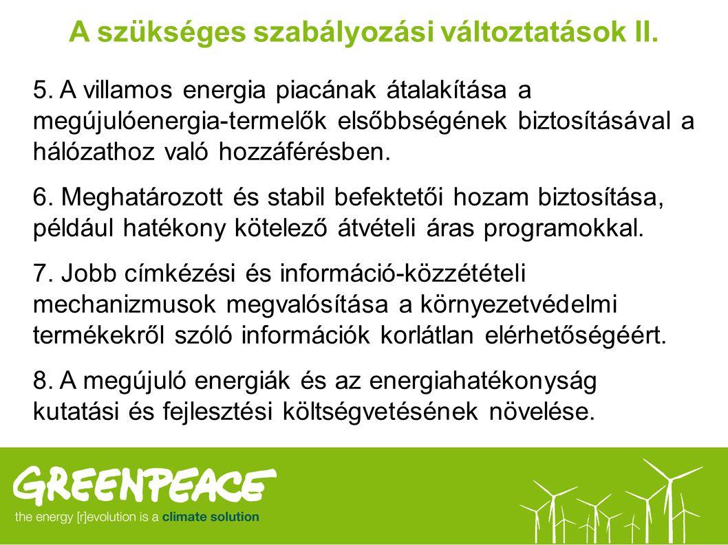 A szükséges szabályozási változtatások II. 5. A villamos energia piacának átalakítása a megújulóenergia-termelők elsőbbségének biztosításával a hálóza