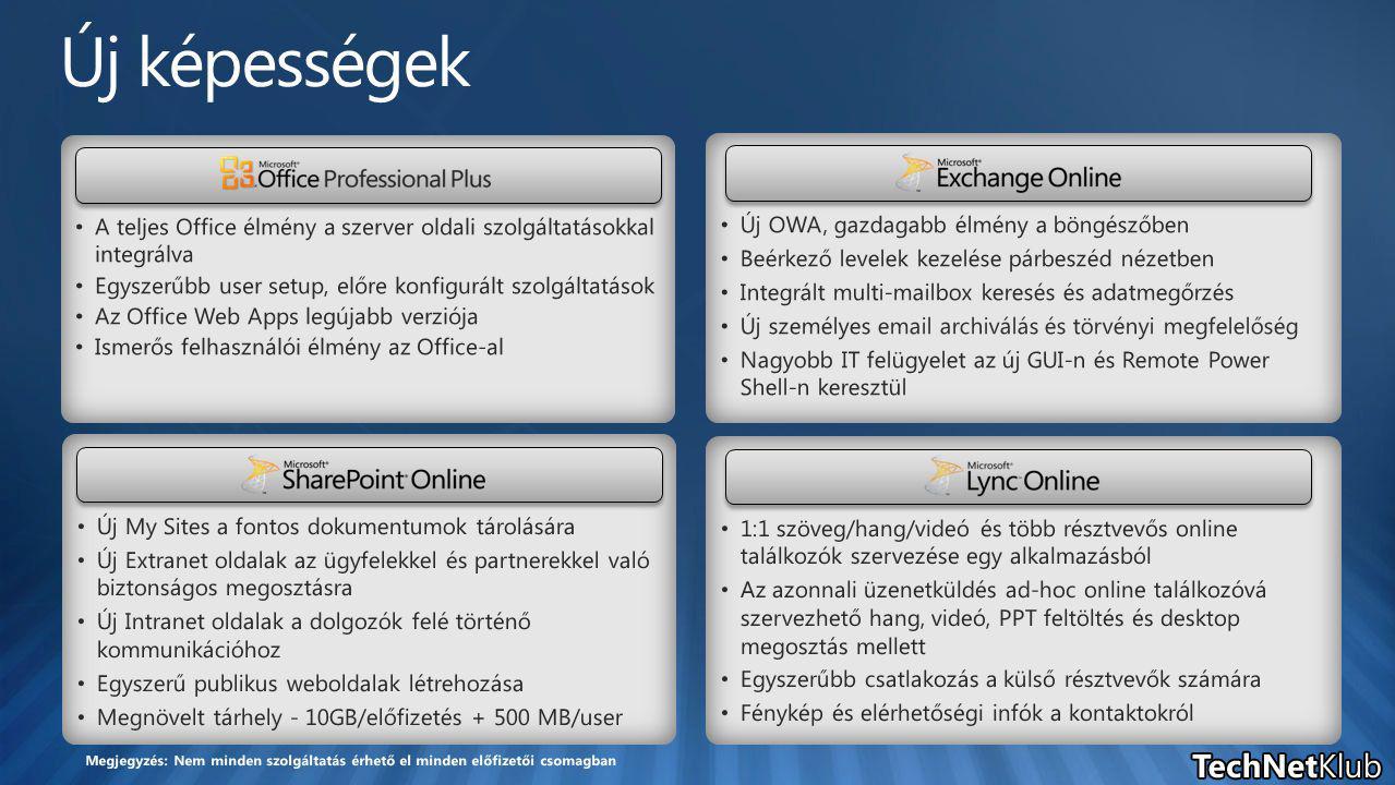 Új My Sites a fontos dokumentumok tárolására Új Extranet oldalak az ügyfelekkel és partnerekkel való biztonságos megosztásra Új Intranet oldalak a dolgozók felé történő kommunikációhoz Egyszerű publikus weboldalak létrehozása Megnövelt tárhely - 10GB/előfizetés + 500 MB/user A teljes Office élmény a szerver oldali szolgáltatásokkal integrálva Egyszerűbb user setup, előre konfigurált szolgáltatások Az Office Web Apps legújabb verziója Ismerős felhasználói élmény az Office-al Új OWA, gazdagabb élmény a böngészőben Beérkező levelek kezelése párbeszéd nézetben Integrált multi-mailbox keresés és adatmegőrzés Új személyes email archiválás és törvényi megfelelőség Nagyobb IT felügyelet az új GUI-n és Remote Power Shell-n keresztül 1:1 szöveg/hang/videó és több résztvevős online találkozók szervezése egy alkalmazásból Az azonnali üzenetküldés ad-hoc online találkozóvá szervezhető hang, videó, PPT feltöltés és desktop megosztás mellett Egyszerűbb csatlakozás a külső résztvevők számára Fénykép és elérhetőségi infók a kontaktokról Megjegyzés: Nem minden szolgáltatás érhető el minden előfizetői csomagban