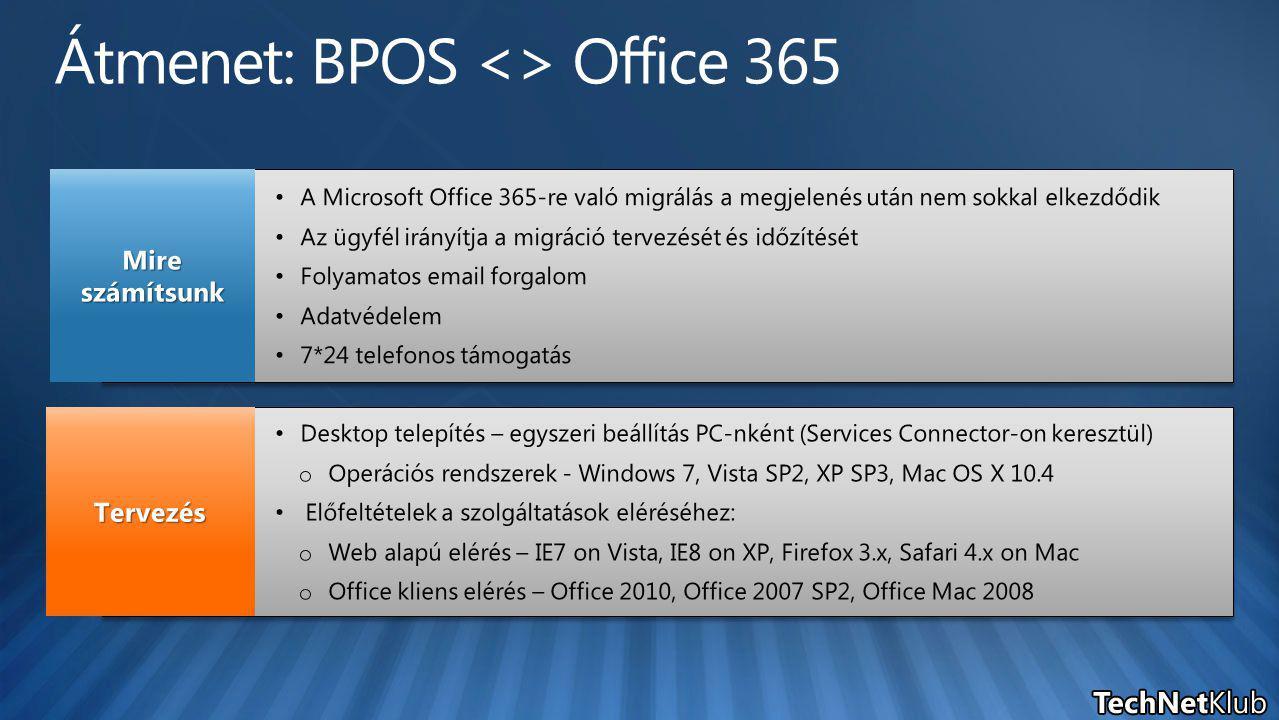 A Microsoft Office 365-re való migrálás a megjelenés után nem sokkal elkezdődik Az ügyfél irányítja a migráció tervezését és időzítését Folyamatos email forgalom Adatvédelem 7*24 telefonos támogatás A Microsoft Office 365-re való migrálás a megjelenés után nem sokkal elkezdődik Az ügyfél irányítja a migráció tervezését és időzítését Folyamatos email forgalom Adatvédelem 7*24 telefonos támogatás Mire számítsunk Desktop telepítés – egyszeri beállítás PC-nként (Services Connector-on keresztül) o Operációs rendszerek - Windows 7, Vista SP2, XP SP3, Mac OS X 10.4 Előfeltételek a szolgáltatások eléréséhez: o Web alapú elérés – IE7 on Vista, IE8 on XP, Firefox 3.x, Safari 4.x on Mac o Office kliens elérés – Office 2010, Office 2007 SP2, Office Mac 2008 Desktop telepítés – egyszeri beállítás PC-nként (Services Connector-on keresztül) o Operációs rendszerek - Windows 7, Vista SP2, XP SP3, Mac OS X 10.4 Előfeltételek a szolgáltatások eléréséhez: o Web alapú elérés – IE7 on Vista, IE8 on XP, Firefox 3.x, Safari 4.x on Mac o Office kliens elérés – Office 2010, Office 2007 SP2, Office Mac 2008 Tervezés