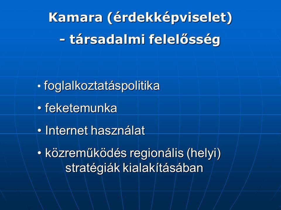 Kamara (érdekképviselet) foglalkoztatáspolitika feketemunka feketemunka Internet használat Internet használat közreműködés regionális (helyi) stratégiák kialakításában közreműködés regionális (helyi) stratégiák kialakításában - társadalmi felelősség