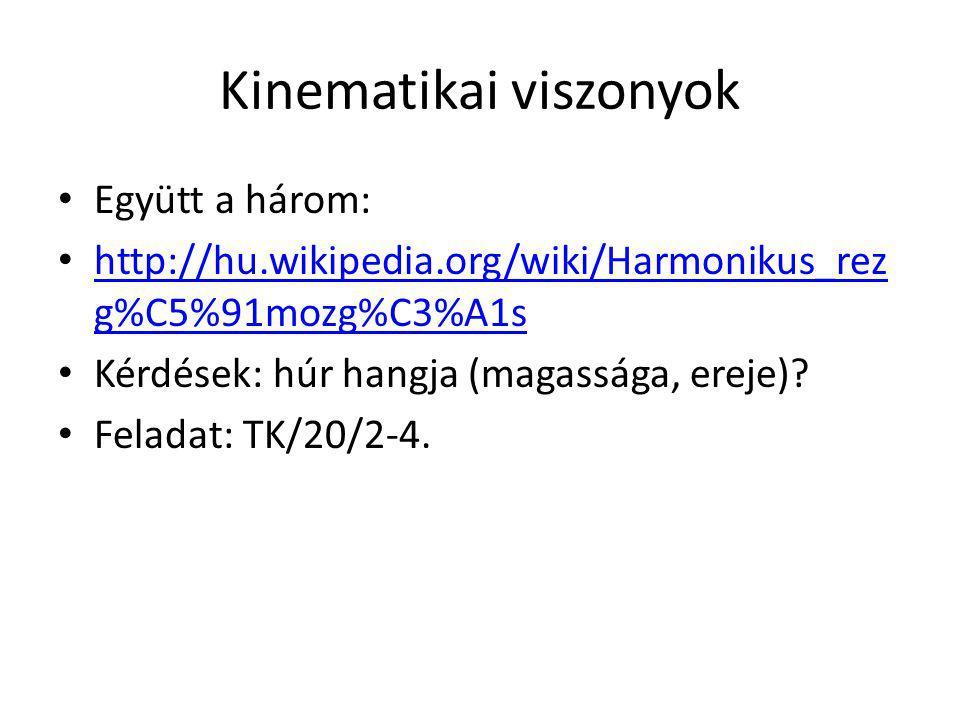 Kinematikai viszonyok Együtt a három: http://hu.wikipedia.org/wiki/Harmonikus_rez g%C5%91mozg%C3%A1s http://hu.wikipedia.org/wiki/Harmonikus_rez g%C5%