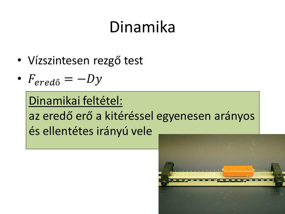 Dinamika Dinamikai feltétel: az eredő erő a kitéréssel egyenesen arányos és ellentétes irányú vele