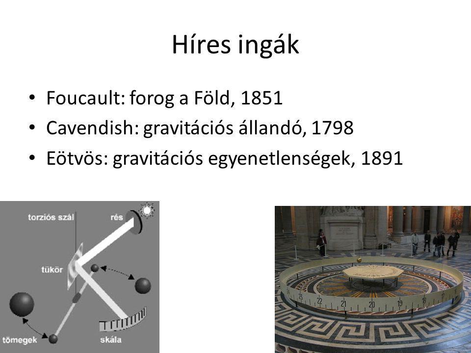 Híres ingák Foucault: forog a Föld, 1851 Cavendish: gravitációs állandó, 1798 Eötvös: gravitációs egyenetlenségek, 1891