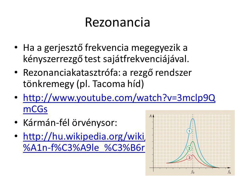 Rezonancia Ha a gerjesztő frekvencia megegyezik a kényszerrezgő test sajátfrekvenciájával. Rezonanciakatasztrófa: a rezgő rendszer tönkremegy (pl. Tac