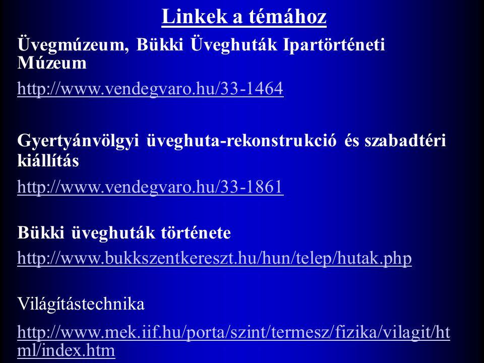 Üvegmúzeum, Bükki Üveghuták Ipartörténeti Múzeum http://www.vendegvaro.hu/33-1464 Gyertyánvölgyi üveghuta-rekonstrukció és szabadtéri kiállítás http://www.vendegvaro.hu/33-1861 Bükki üveghuták története http://www.bukkszentkereszt.hu/hun/telep/hutak.php Világítástechnika http://www.mek.iif.hu/porta/szint/termesz/fizika/vilagit/ht ml/index.htm Linkek a témához