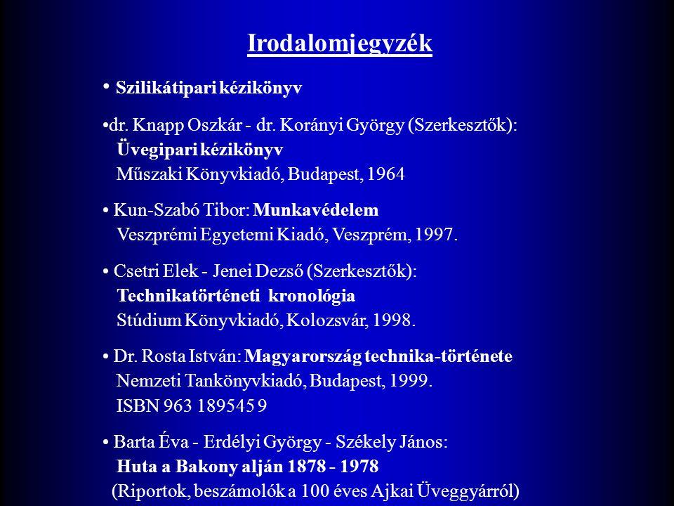 Irodalomjegyzék Szilikátipari kézikönyv dr. Knapp Oszkár - dr. Korányi György (Szerkesztők): Üvegipari kézikönyv Műszaki Könyvkiadó, Budapest, 1964 Ku