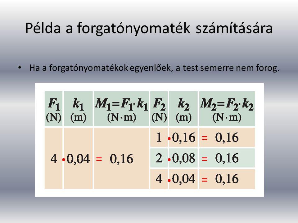Példa a forgatónyomaték számítására Ha a forgatónyomatékok egyenlőek, a test semerre nem forog. ∙ ∙ ∙ ∙ = = = =
