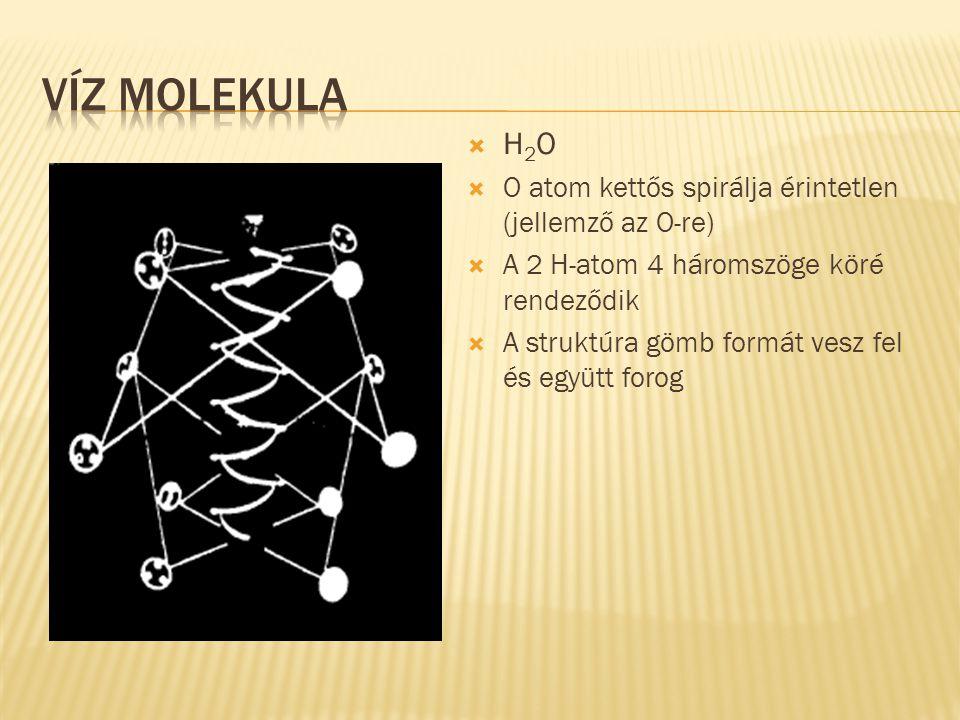  H 2 O  O atom kettős spirálja érintetlen (jellemző az O-re)  A 2 H-atom 4 háromszöge köré rendeződik  A struktúra gömb formát vesz fel és együtt