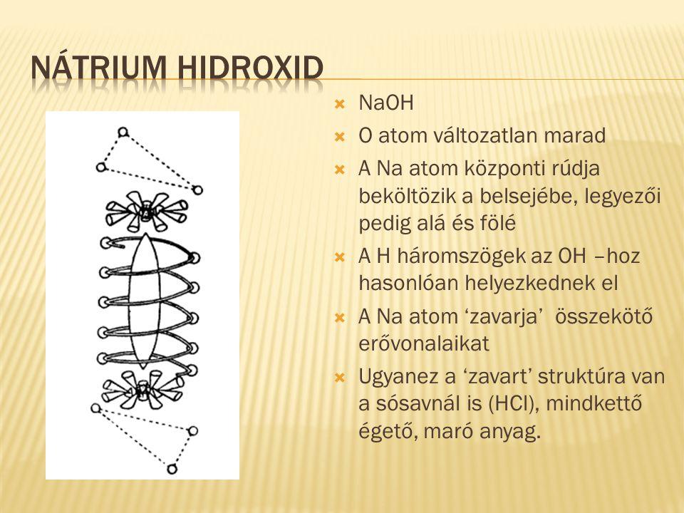  NaOH  O atom változatlan marad  A Na atom központi rúdja beköltözik a belsejébe, legyezői pedig alá és fölé  A H háromszögek az OH –hoz hasonlóan