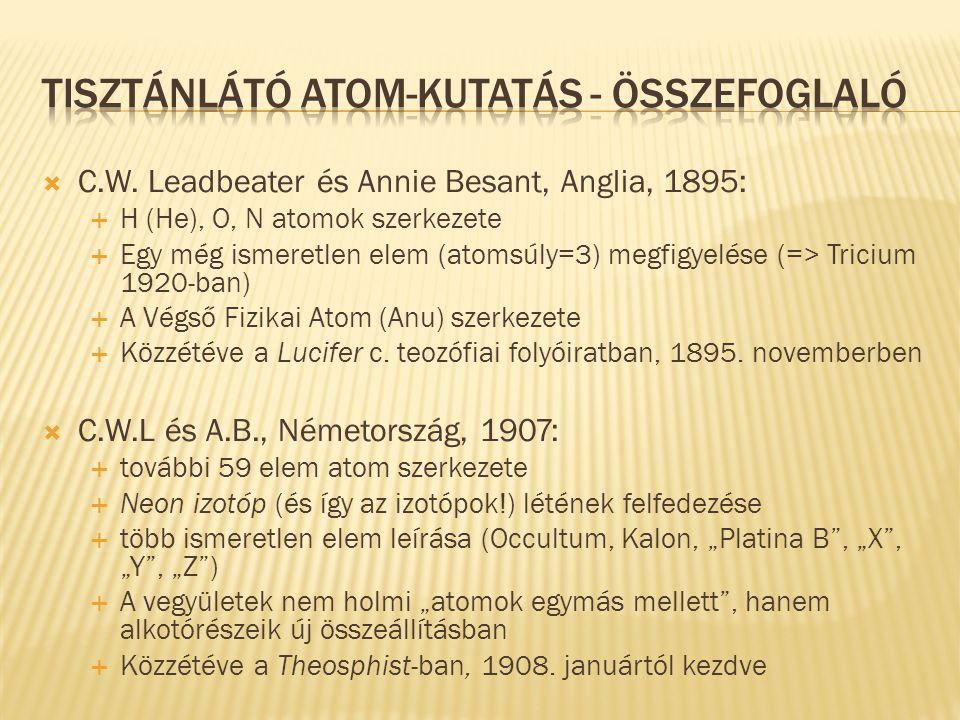  C.W. Leadbeater és Annie Besant, Anglia, 1895:  H (He), O, N atomok szerkezete  Egy még ismeretlen elem (atomsúly=3) megfigyelése (=> Tricium 1920
