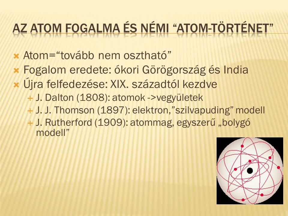 """ Atom=""""tovább nem osztható""""  Fogalom eredete: ókori Görögország és India  Újra felfedezése: XIX. századtól kezdve  J. Dalton (1808): atomok ->vegy"""