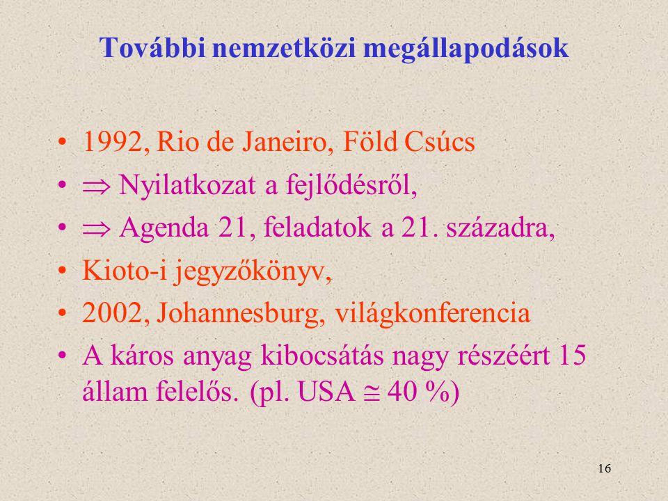 16 További nemzetközi megállapodások 1992, Rio de Janeiro, Föld Csúcs  Nyilatkozat a fejlődésről,  Agenda 21, feladatok a 21. századra, Kioto-i jegy