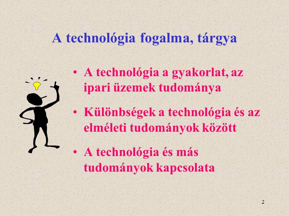 2 A technológia fogalma, tárgya A technológia a gyakorlat, az ipari üzemek tudománya Különbségek a technológia és az elméleti tudományok között A tech