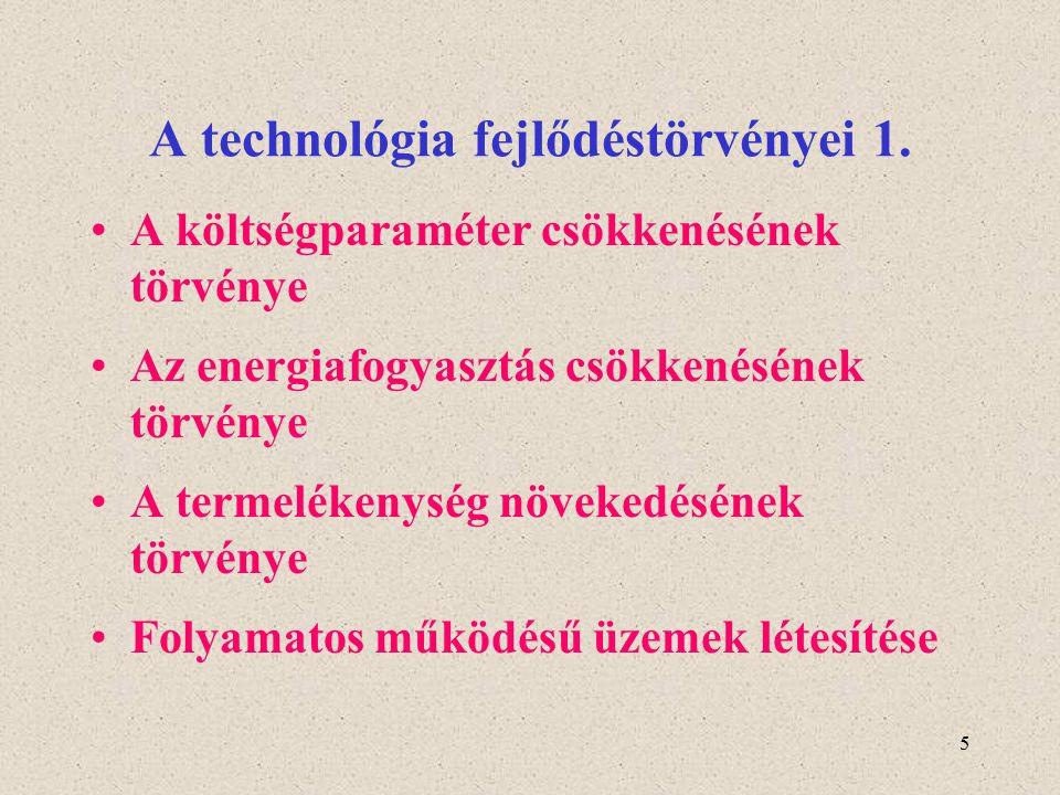 5 A technológia fejlődéstörvényei 1. A költségparaméter csökkenésének törvénye Az energiafogyasztás csökkenésének törvénye A termelékenység növekedésé