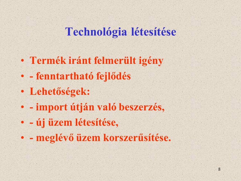 8 Technológia létesítése Termék iránt felmerült igény - fenntartható fejlődés Lehetőségek: - import útján való beszerzés, - új üzem létesítése, - megl